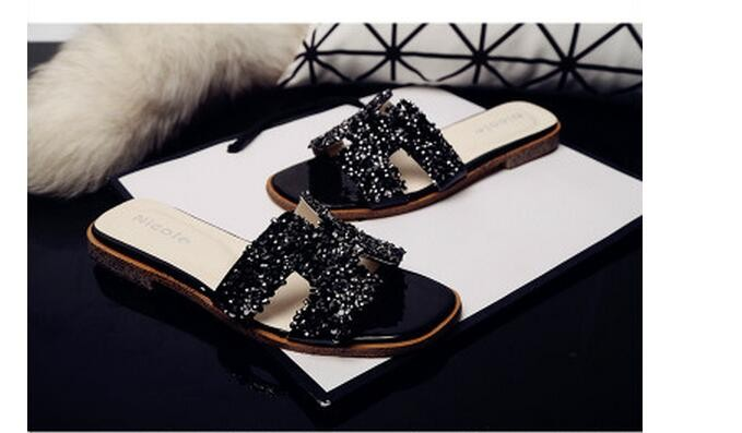 Sequins Summer Shoes Women Flat Sandals Fashion Paillette Slippers Zapatos Mujer