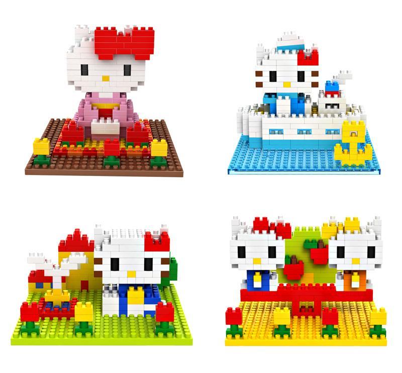 LOZ Diamond Building Blocks Hello Kitty Toys Mimi 4 Style ABS Model Children Toys Christmas Gift 9+ Original Box(China (Mainland))