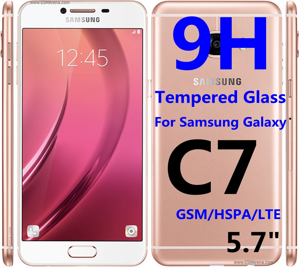 9H Tempered Glass Protective Film For Samsung Galaxy C7 GSM HSPA LTE Screen Protector Phone Case Fundas(China (Mainland))