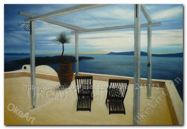 Aegean Seascape Oil Painting Hand Painted Hotel Living Room Paintings Modern Painting Home Decoration Wall Art Free Shipping A0(China (Mainland))