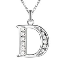 Buy Letter D bling zircon wholesale silver plated Necklace New Sale silver necklaces & pendants /UMNRPBRX ULCDYHVQ for $1.30 in AliExpress store