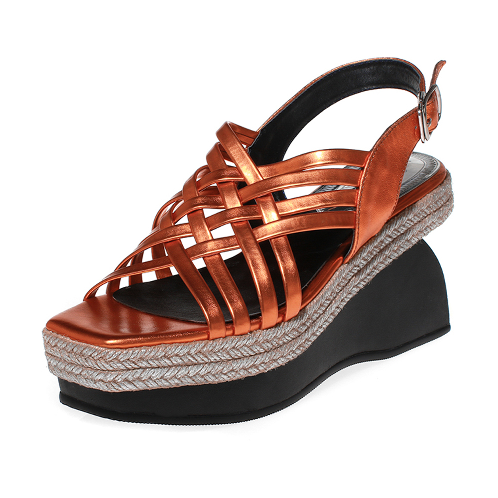 Women Genuine Leather cross Weave platform sandals Rear Strappy Square Open toe sandals Ladies Allotype Wedges sandals(China (Mainland))