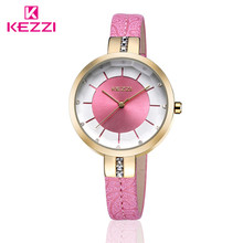 KEZZI Brand Charming Ladies Watches Embossing Floral Leather Strap Wristwatches Japan Quartz Watches for Small Wrist