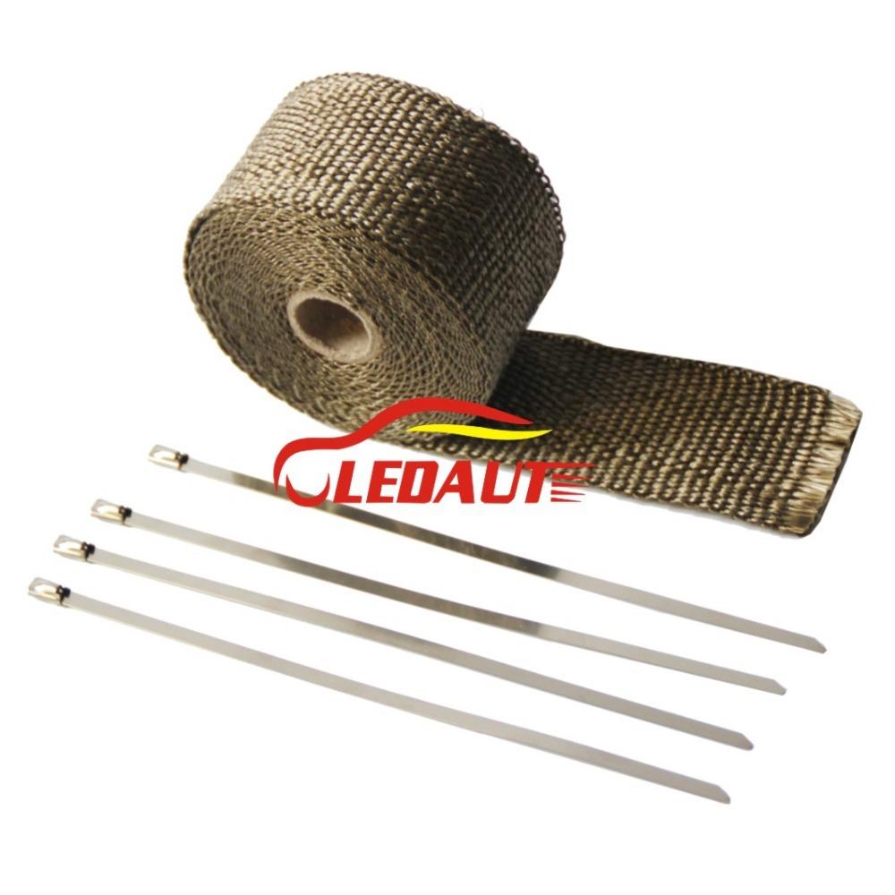 "Ledaut 2""X16' Titanium Exhaust Wrap exhaust pipe Heat Shield with 8"" Stainless Steel Locking Ties(China (Mainland))"