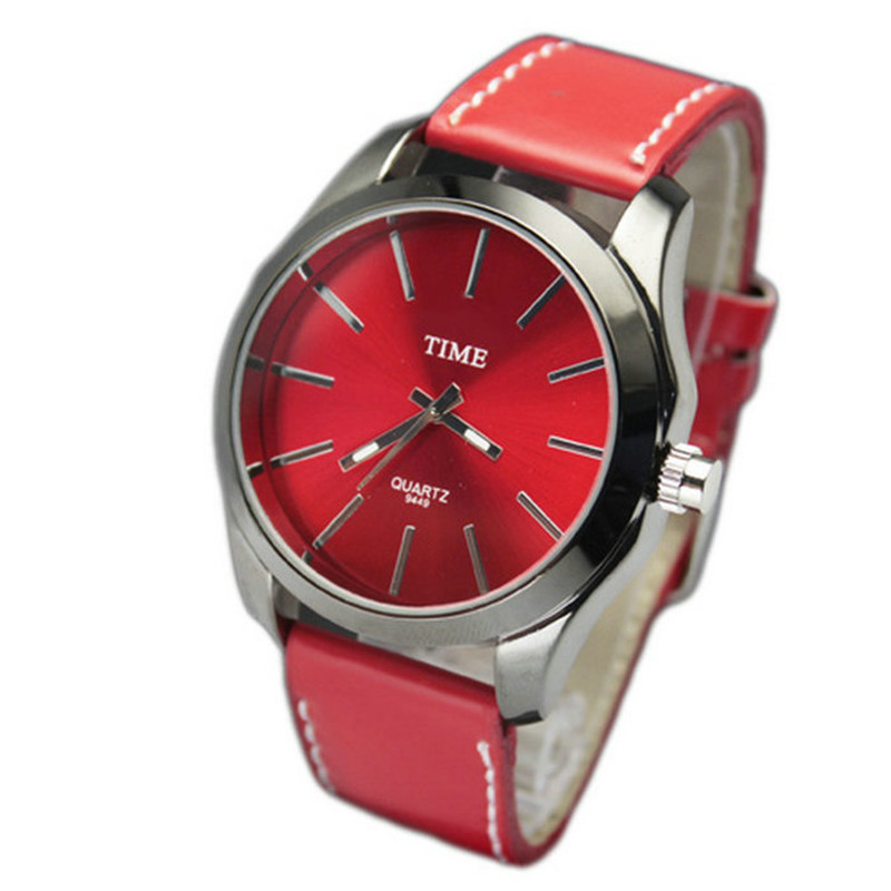 Simple stylish Women Men's Watch Red Leather Band Unisex Fashion personality Quartz Wrist Watches best gift - zhongqi yi's store