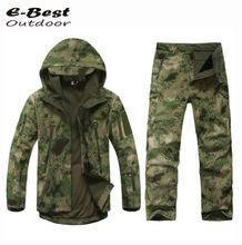 TAD Military Softshell Outdoors Men Hoodies Waterproof Sport Army Shark Skin Hunting Clothes Set Military Jacket + Pants()