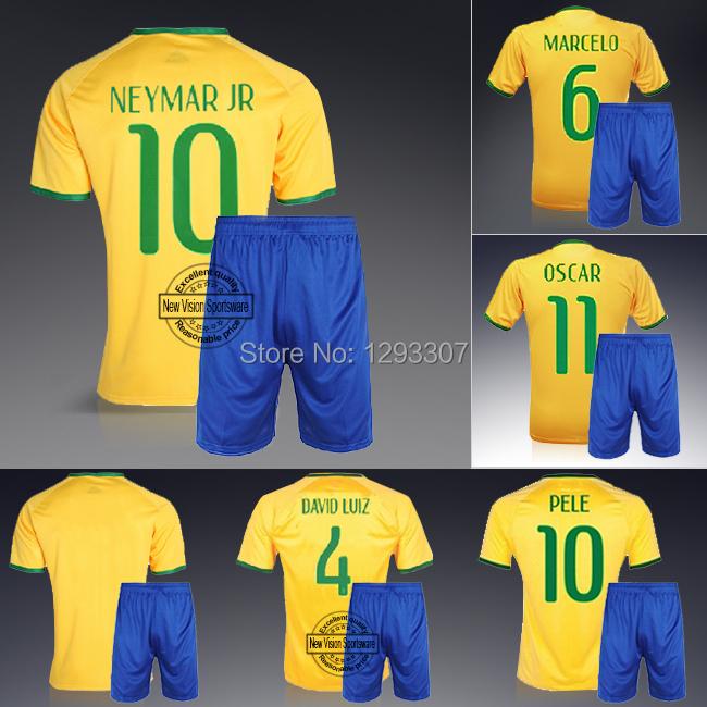 2014 Embroidery Yellow Home Neymar Ronaldo David Luiz Oscar Pele Football Kit Uniform Men Sports Shirt Outfit Soccer Jersey Set(China (Mainland))
