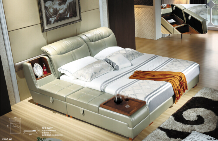 Modern bedroom furniture with genuine leather bedroom furniture china for king size(China (Mainland))