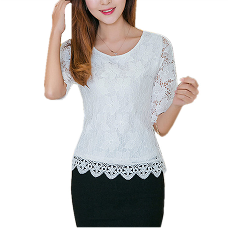 2016 Summer Blusas Sexy Women Blouses Lace Crochet Half Sleeve Hollow Tops Ladies Casual Round Neck Solid Blouse Shirt Plus Size(China (Mainland))
