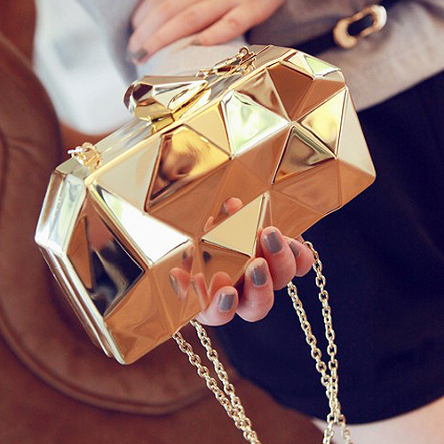 2015 new fashion geometric three-dimensional metal chain ladies handbag evening bag day clutches mini purse wedding party bag(China (Mainland))