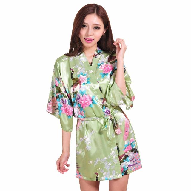 Горячая распродажа зеленый женский шелковый халат сексуальная район кимоно ванна ...