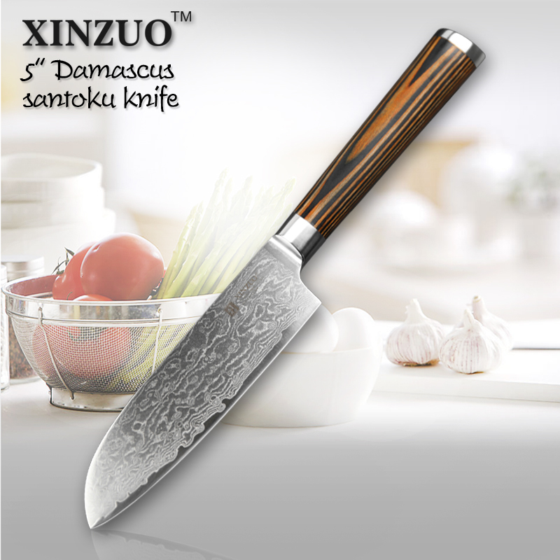 "XINZUO 5""Japanese chef knife 73 layers VG10 Damascus steel kitchen knife high quality santoku knife wooden handle FREE SHIPPING(China (Mainland))"