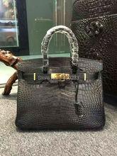 100% Real/Genuine Crocodile Skin Belly parts Womens Tote Handbag, alligator skin lady tote black customized production service(China (Mainland))