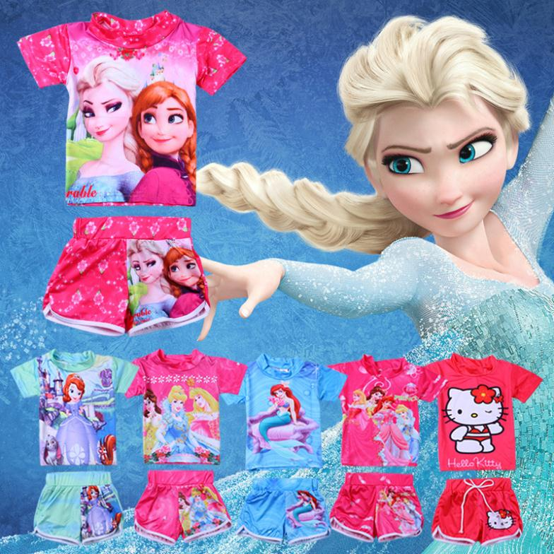 2014 Girl Swim Wear Princess Cinderella & Elsa Anna & Ariel&Sofia &Hello Kitty Print Two Piece Child Swimsuit Girls Bathsuit(China (Mainland))