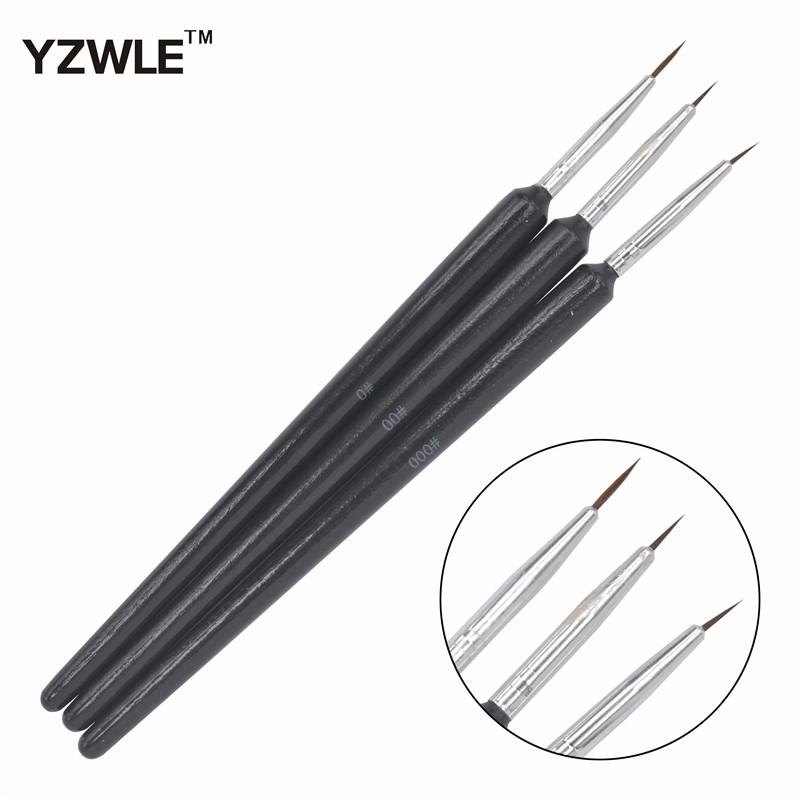 YZWLE 3PCS/1Set Kolinsky Acrylic Nail Brush Professional Brushes Nail Tools Fashion Nail Art Brush for Manicure 14(China (Mainland))