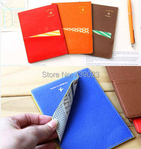 5 color 137*105mm 2015 New fashion candy color PU Passport Holder Korea style(China (Mainland))