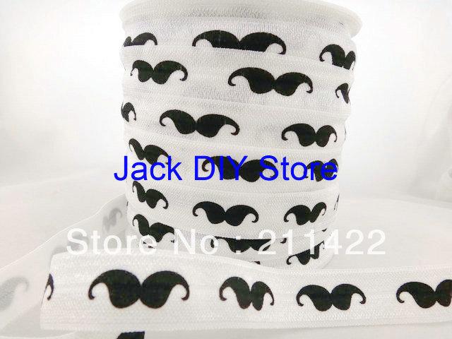 Mustache FOE Fold Over Elastic 50 Yards per roll 1.5cm Foldover elastic for headband Hair Accessories Free Shipping