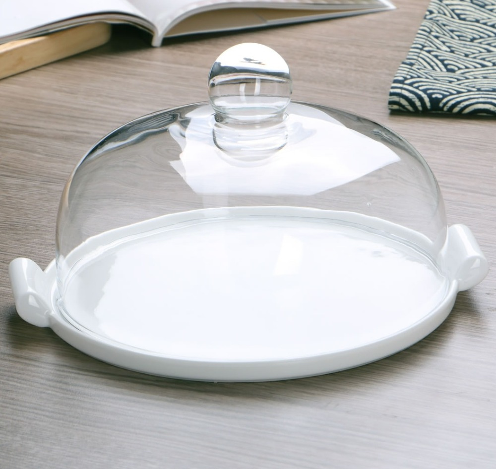 Aliexpress Com Buy Ceramic Dinner Plate With Glass Cover