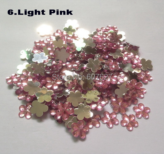 Light Pink 500 Acrylic Loose Hot Flatback Glue Rhinestone Gems 3D Nails Art Flower Stones Decorations DIY - Colorful Accessories store