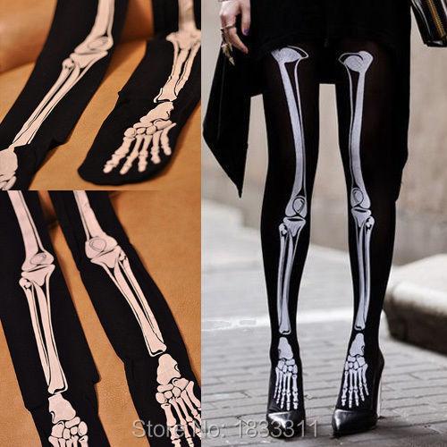 Womens Tattoo Ladies Sexy Pantyhose Stockings Tights Skull Skeleton(China (Mainland))