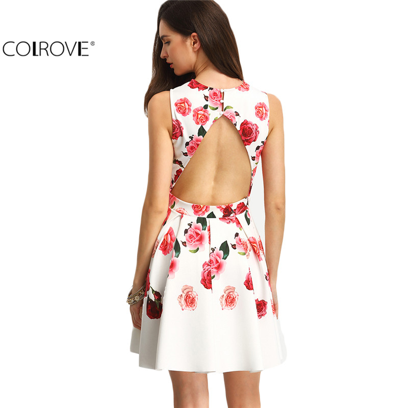 COLROVE Women A Line Elegant Dresses Summer Sexy 2016 New Multicolor Sleeveless Flower Print Hollow Back Mini Dress(China (Mainland))