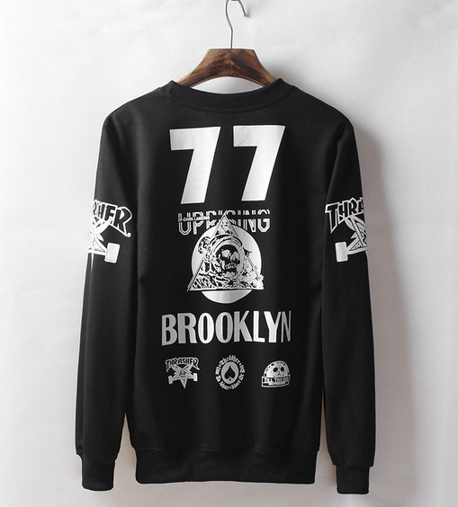 2015 boy Autumn Letter print brooklyn sweatshirt HIPHOP pullover thrasher hip hop hoodie Women long-sleeve suit Tide Men sports(China (Mainland))