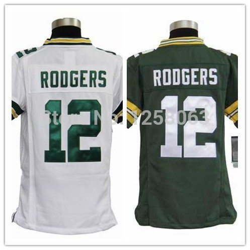 Free shipping #12 Aaron Rodgers White/Green Youth Authentic Football Jerseys Size:S-XL(China (Mainland))
