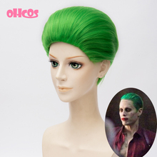 OHCOS Suicide Squad Jared Leto Batman Joker Green 30cm Hair Synthetic High Quality Fashion Party Halloween Cosplay Wig(China (Mainland))