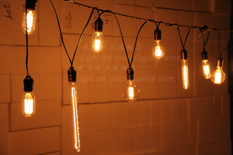 Vintage Edison light bulb chandelier 10-Socket Connectable Strand (Bulbs Not Included)(China (Mainland))