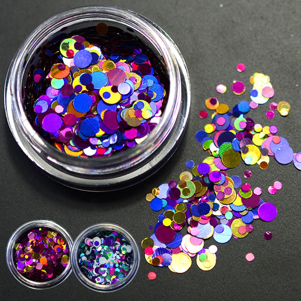 Hot New Fashion Multicolor 1g 1mm 2mm 3mm Mixed Mini Round Nail Art Glitter Paillette Decoration P1-8