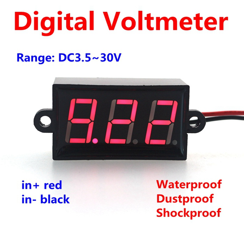 NEW Waterproof dustproof shockproof DC 3.50-30.0V Digital volt voltage meter led voltmeter 2 wires(China (Mainland))