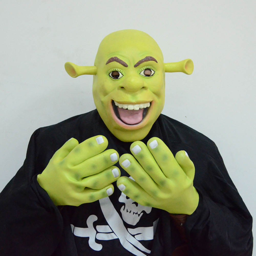 Adults Shrek Fancy Dress Costume Latex Mask with Gloves(China (Mainland))