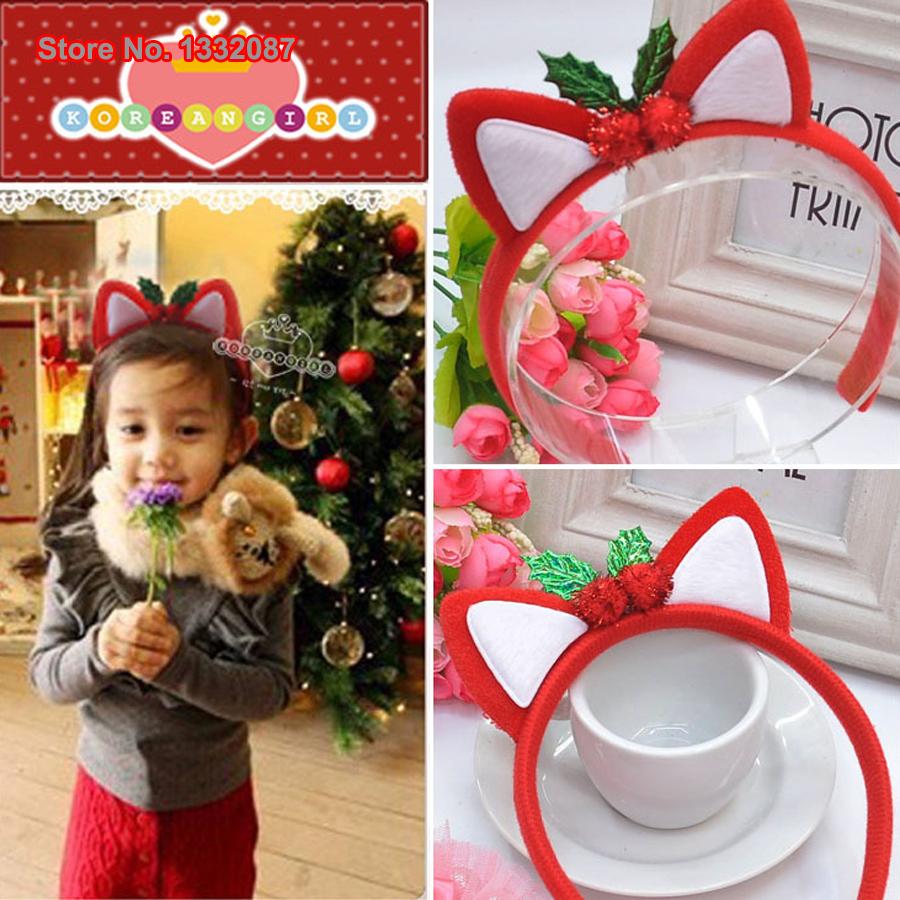 Free Shipping Retail Christmas Decoration Supplies Fashion Children Girls Ali Cat Ears Hair Accessories Headwear Hairbands(China (Mainland))