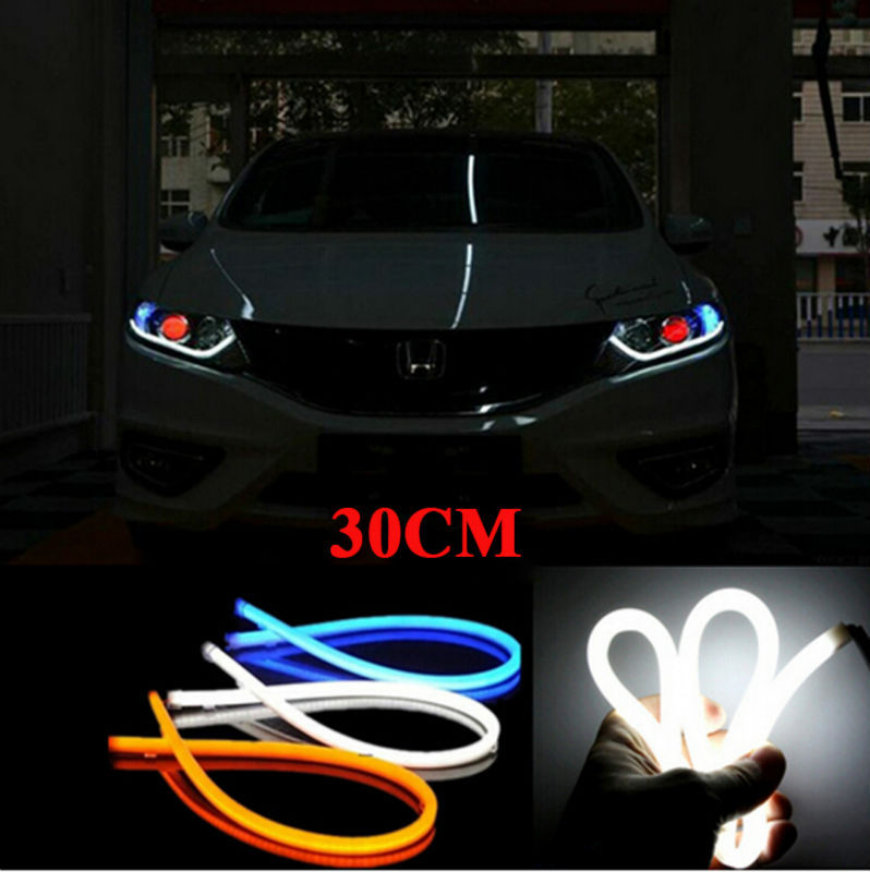 car styling 2x White Red blue yellow green LED Flexible Tube Style Headlight Headlamp Strip Angel Eye DRL Decorative Light(China (Mainland))