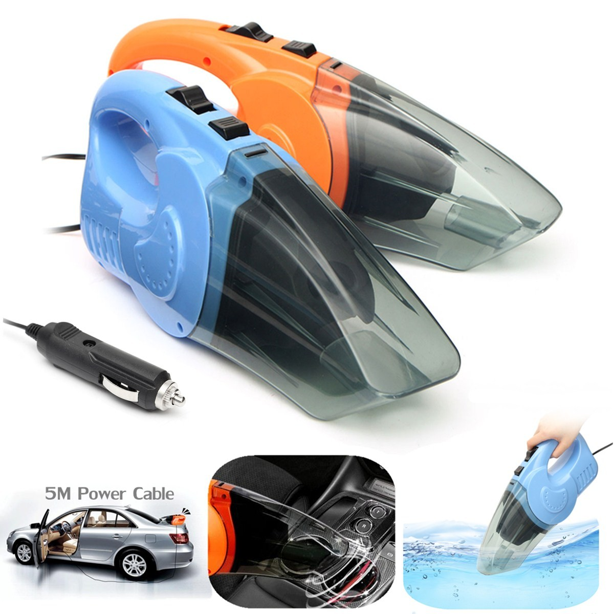 Brand New 12V 120W Super Suction Handheld Wet Dry Car Vacuum Cleaner w/ 16FT Cord 5 Meter Cable(China (Mainland))