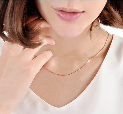 1.2MM Beier Casual Men Necklaces 18K Rose Gold Filled Snake Bone Chains Necklaces Fashion women Jewelry Necklace Wholesale(China (Mainland))