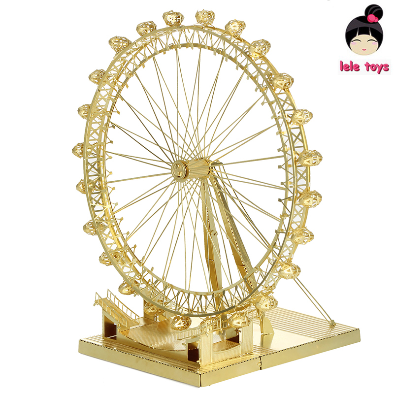 New arrival Hand assembled exquisite jigsaw puzzle London Eye ICONX METAL EARTH 3D Metal model Etching brass like PIECECOOL(China (Mainland))