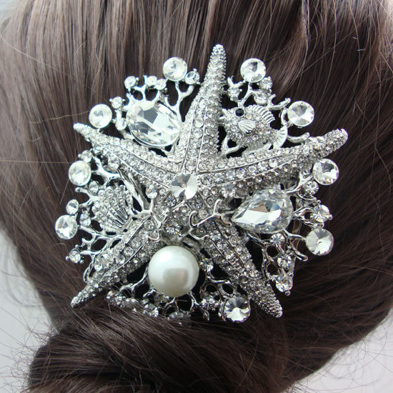 Bridal Bridal Wedding Hair Accessories Starfish Clear White Crystal Rhinestone Pearl Bridal Bridesmaid Wedding Comb(China (Mainland))