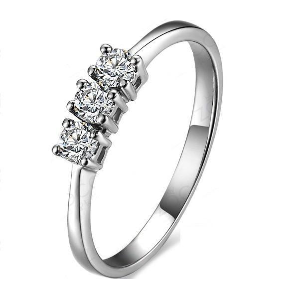 14K White Gold Jewelry Wedding Elegant 0.3Ct Round Cut Synthetic Diamond Engagement Ring 14K Memorable Valentine Gift for Lover(China (Mainland))