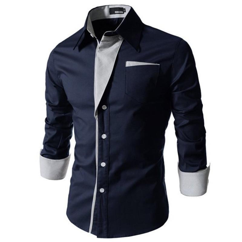 2015 New Stylish Stripe Men Shirts Patchwork Business Long-sleeve Mans Dress Shirts Clothes Camisa Masculina Plus Size M-XXXL(China (Mainland))