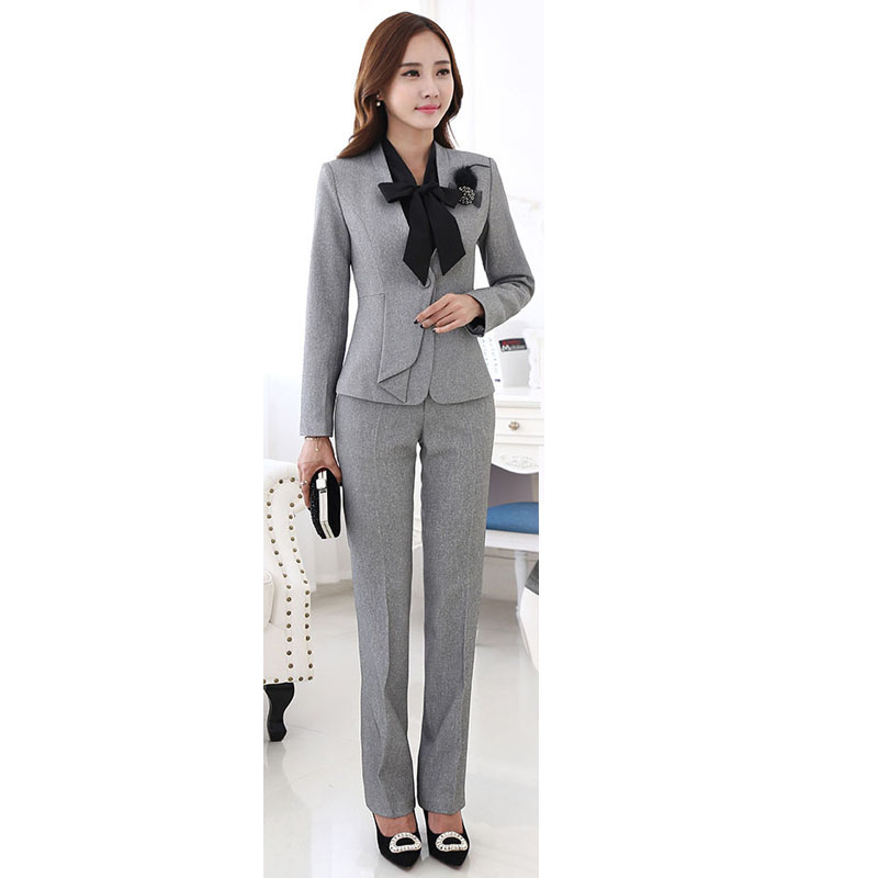 Beautiful Women Pant Suit Formal Ladies Business Sets Elegant Slim Black Wint