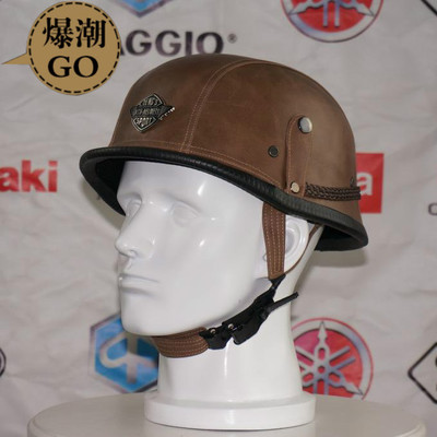 Adult Leather Harley Helmets For Motorcycle Retro Half Cruise Helmet Prince Motorcycle GERMAN Helmet Vintage Motorcycle Moto(China (Mainland))