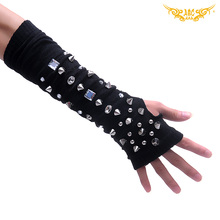 Free shipping Restyle Gothic Punk Cotton Arm Warmers Bling Rivets Tactical Gloves Korean street Harajuku Steampunk motorcycle(China (Mainland))