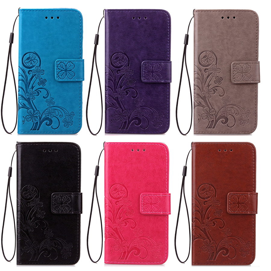 Phone Case For Samsung Galaxy A310 Side Buckle Dirt-resistant PU Leather Embossing Lucky Clover 6 Color Black Brown Fashion(China (Mainland))