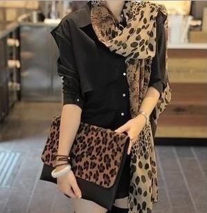 Free Shipping 2014 Spring New Scarves Long Leopard Pashmina Shiffon Shawl(China (Mainland))