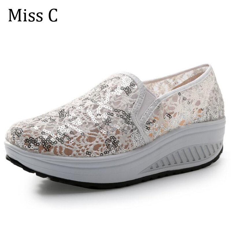 2016 Light Weight Wedge Women Shoes Causal Breathable Slip On Female Shining Lace Shoes For Spring Summer Size 35~40 WSN38(China (Mainland))