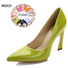 2016 New women dress shoes Genuine leather high heel pumps Thin heel candy colors Fall Bride wedding party shoe big size 35-42