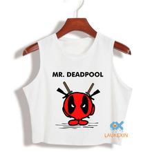 Funy Deadpool T Shirt American Comic Crop Top Shirt Cartoon Characters Tank Top Harajuku camiseta tirantes mujer Women Anime Top