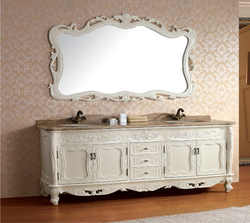 Solid wood antique bathroom cabinet with mirror and sink