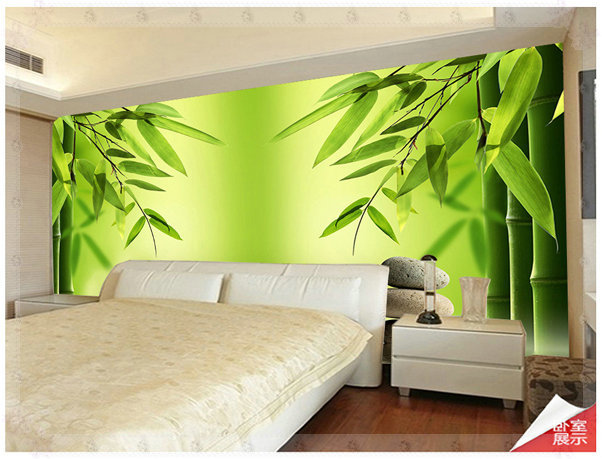 Hd large bamboo forest non woven mural tv decoration wall for Bamboo forest wall mural